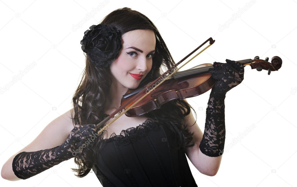 Beautiful young happy woman play violin music instrument isolated on white — Stock Photo #3286470