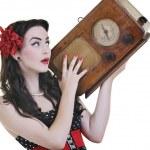 Pretty girl listening music on radio — Stock Photo #3291390