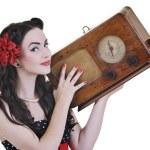 Pretty girl listening music on radio — Stock Photo #3291397
