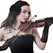Beautiful young lady play violin — Stock Photo