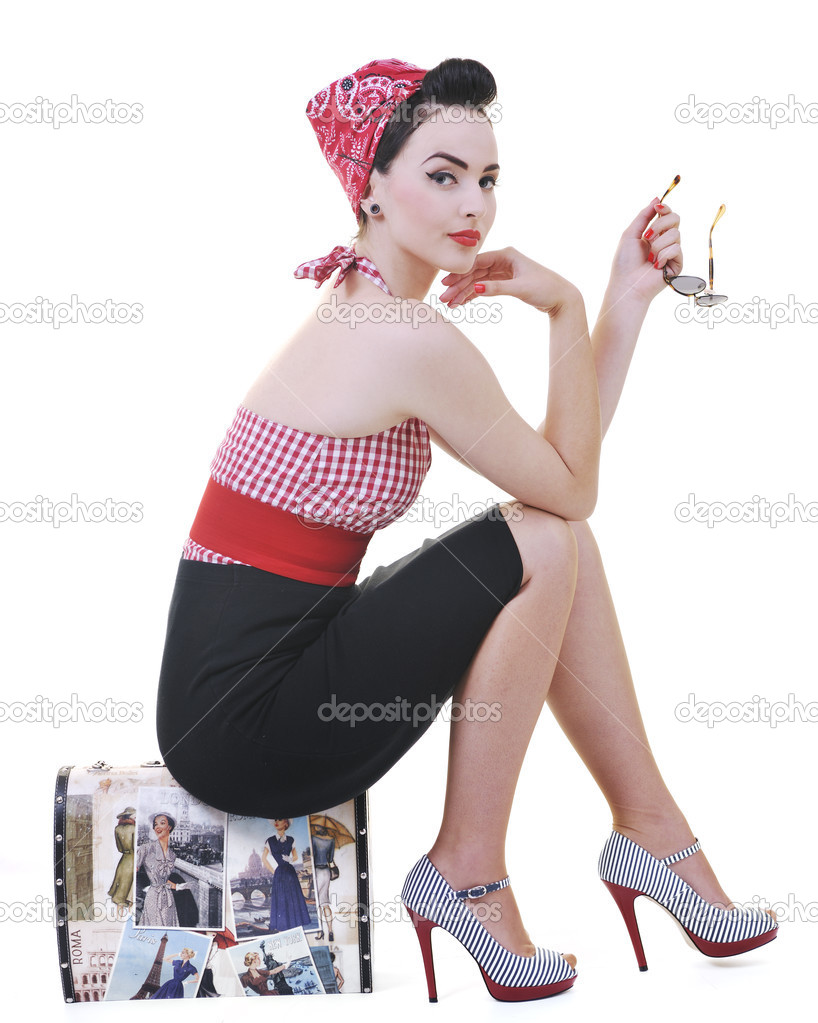 Pretty young happy woman with travel bag waiting and posing isolated on white in studio — Stock Photo #3306122