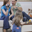 Happy family special moments on video — Stock Photo #3411022