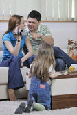 Happy family special moments on video — Stock Photo