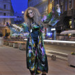 Elegant woman on city street at night — Stock Photo #3554242