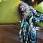 Elegant woman on city street at night — Stock Photo #3554265