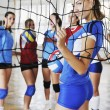 Girls playing volleyball indoor game — Stock Photo #3630085