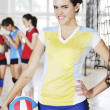 Girls playing volleyball indoor game — Stock Photo #3630135