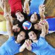 Girls playing volleyball indoor game — Photo