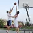 Streetball  game at early morning - Lizenzfreies Foto