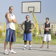 Streetball  game at early morning - Stock Photo