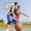 Streetball  game at early morning - Foto Stock