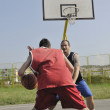 Streetball  game at early morning — Stockfoto