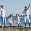 Happy family playing with dog on beach — Stock Photo #4359627