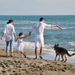 Happy family playing with dog on beach — Stock Photo #4359682