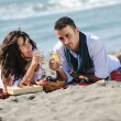 Happy young couple have fun at beautiful beach — Stock Photo #4376667