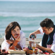 Happy young couple have fun at beautiful beach — Stock Photo #4377259