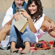 Happy young couple have fun at beautiful beach — Stock Photo #4378333