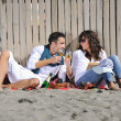 Happy young couple have fun at beautiful beach — Stock Photo #4380349