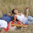 Happy couple enjoying countryside picnic in long grass — Stock Photo #4382359