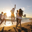 Friends have fun and celebrate on the beach — 图库照片 #4384584
