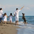 Happy family playing with dog on beach — Stock Photo #4388175
