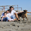 Happy family playing with dog on beach — Foto de stock #4388867