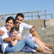图库照片: Happy young family have fun on beach