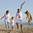 Happy family playing with dog on beach — Stock fotografie #4388964