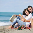 Happy young couple have fun at beautiful beach — Stock Photo #4389434