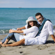 Happy young couple have fun at beautiful beach — Stock Photo #4390137
