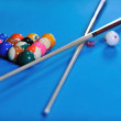 Stock Photo: Young mplay pro billiard game