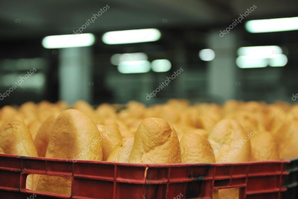 Bread bakery food factory production with fresh products — Stock Photo #4506430