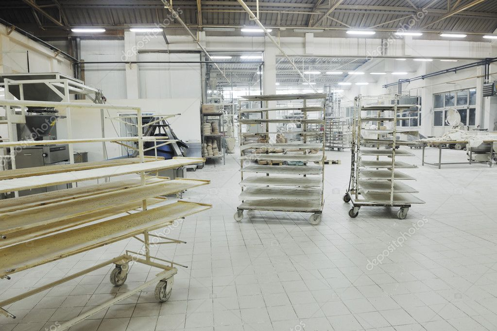 Bread bakery food factory production with fresh products — Stock Photo #4506493