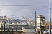 Budapest chain bridge at day — Stock Photo
