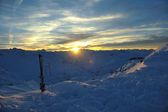 Mountain snow sunset — Stockfoto