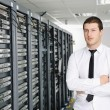 Business man practice yoga at network server room — Stock Photo #4792009