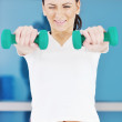 Woman fitness workout with weights — Stock Photo