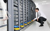 Business man practice yoga at network server room — Foto de Stock