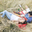 Happy couple enjoying countryside picnic in long grass — Stock Photo #4827954