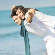 Happy young couple have fun at beautiful beach — Stock Photo #4830213