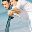 Happy young couple have fun at beautiful beach — Stock Photo #4830239