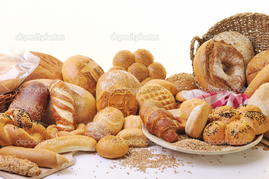 Fresh healthy natural  bread food group in studio on table — Stock Photo #4869383