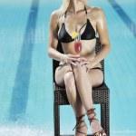 Beautiful woman relax on swimming pool — Stock Photo #4915556