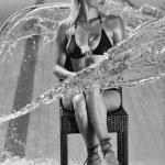 Beautiful woman relax on swimming pool — Stock Photo #4915603