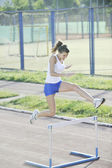 Woman jogging at early morning — Stock Photo