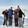 Stock Photo: Skiing on on now at winter season
