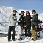 Group on snow at winter season — Stock Photo #5137576
