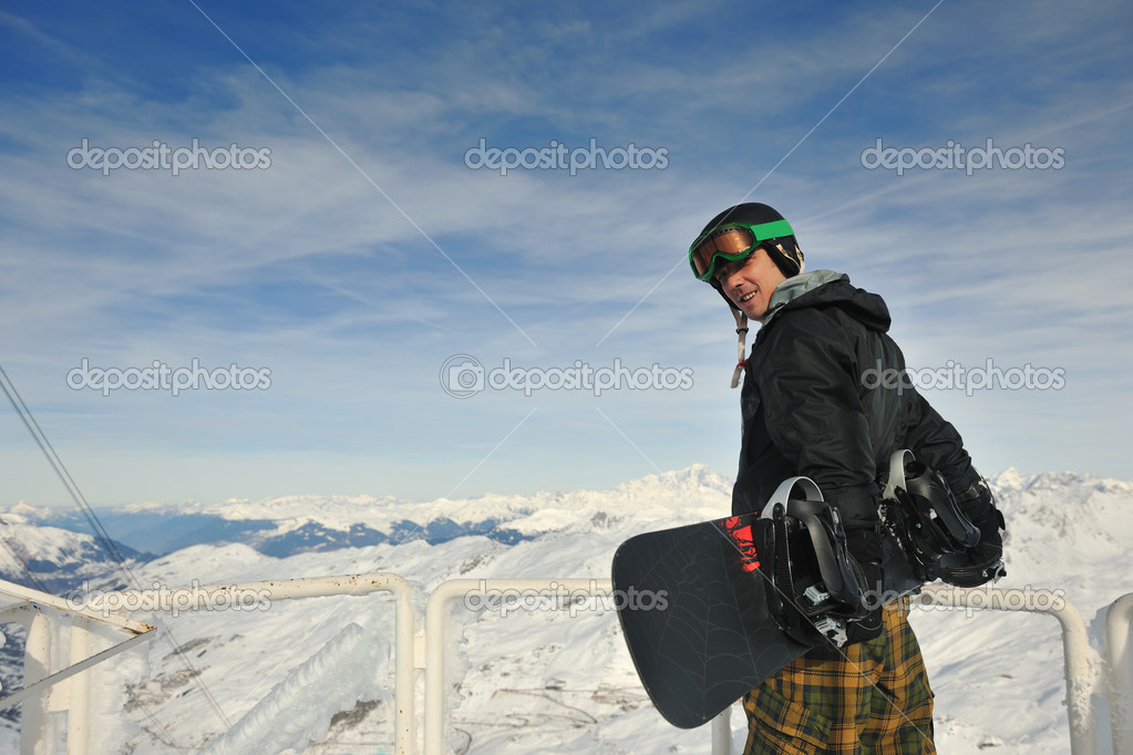 Happy group have fun on snow at winter season on mountain with blue sky and fresh air — Stock Photo #5138276