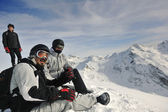 Group on snow at winter season — Stock Photo