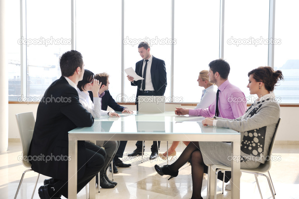 Young business group have  meeting at conference room and have discusion  about new ideas  plans and problems — Stock Photo #5196723